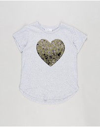 Decjuba Kids - Animal Sequin Heart Tee - Kids-Teens