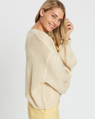 Cotton On Nate Wide Neck Blouson Sleeve Pullover - Jumpers & Cardigans (Solid Tapioca)