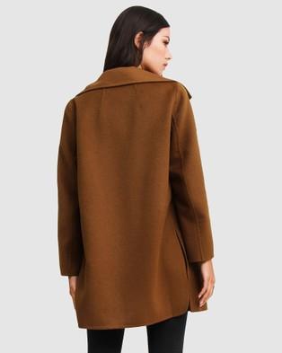 Belle & Bloom Ex Boyfriend Wool Blend Oversized Coat - Coats & Jackets (Brown)