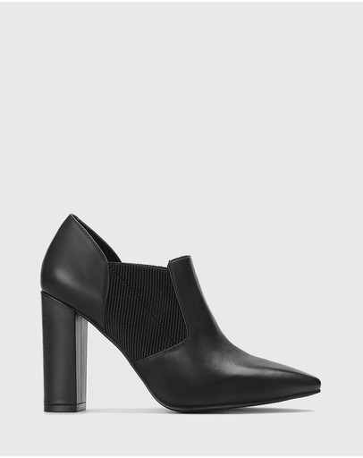 Wittner - Herberto Leather Block Heel Pointed Toe Booties