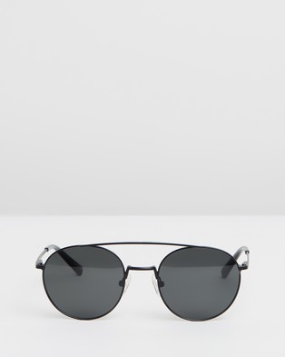 Local Supply Bridge Polarised - Sunglasses (Matte Black Frame, Black Tint Lenses & Silver Detailing)