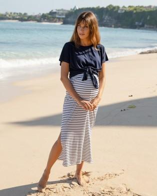 Angel Maternity Maternity Midi Skirt - Pencil skirts (Cream Stripes)