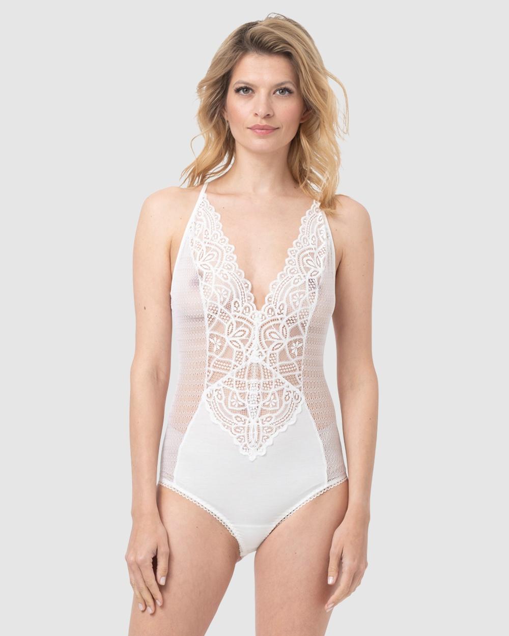 Oh!Zuza Lace Bodysuit Sleepwear & Loungewear Ivory