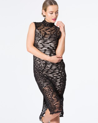 SIYONA – Embroidered Beaded Leopard Lace Dress – Dresses (Black)