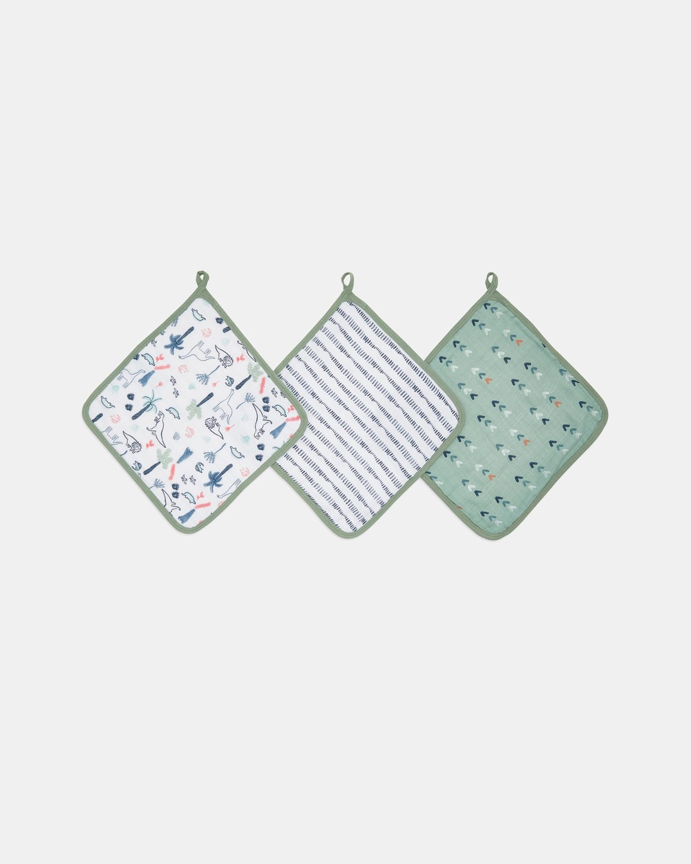 Aden & Anais 3 Pack Essentials Muslin Washcloths Towels Face Washers Dinotime 3-Pack