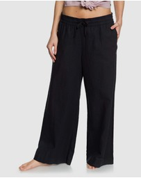 Roxy - Womens Great Past Cropped Wide Leg Linen Pant