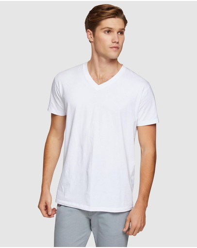Oxford Peter Stretch V-neck T-shirt White