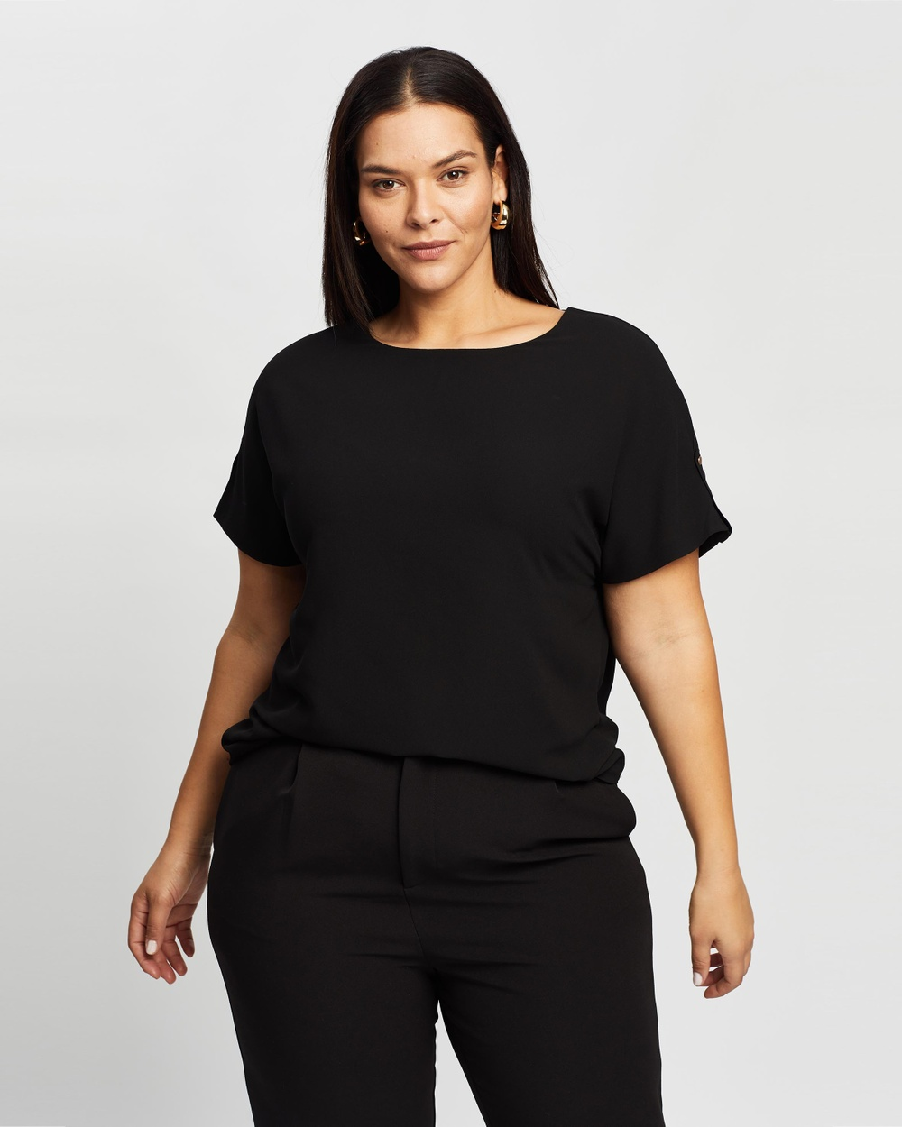 Atmos&Here Curvy - Bianca Button Tab Woven Tee - T-Shirts & Singlets (Black) Bianca Button Tab Woven Tee