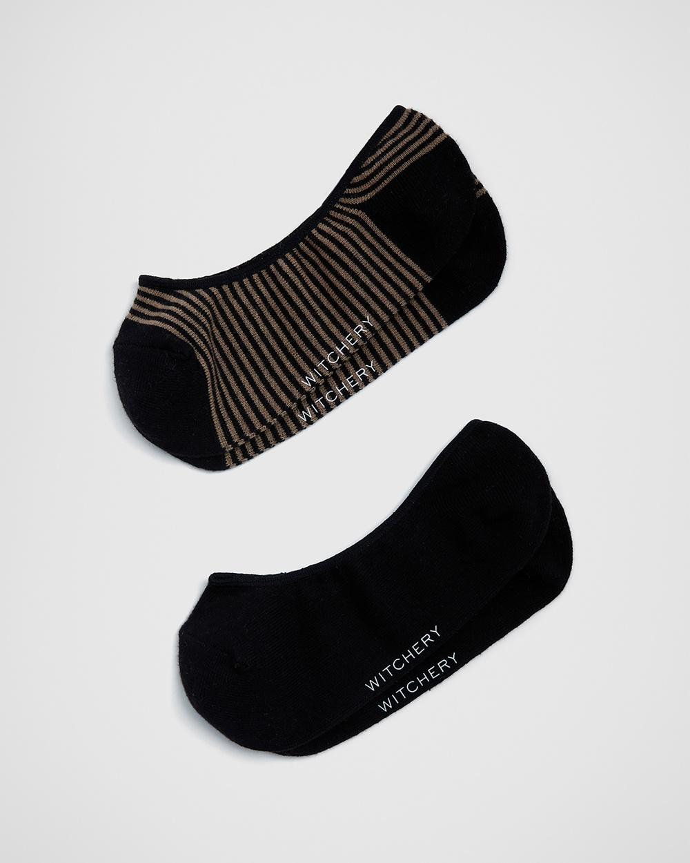Witchery Striped Loafer Sock No Show Socks black