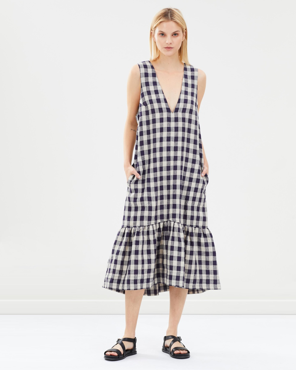 Lee Mathews Midnight Kendall Checked Linen V-Neck Tunic Dress
