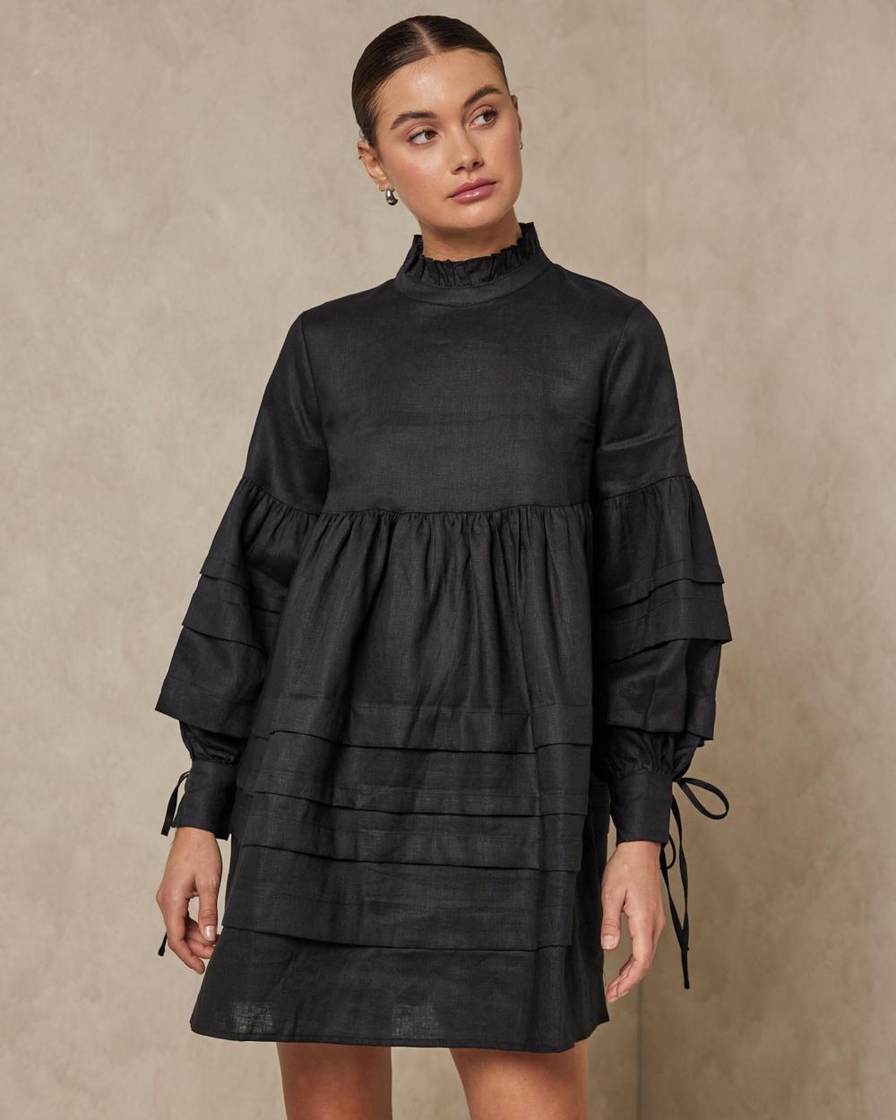 AERE Pleat Detail Linen Smock Dress Dresses Black Australia