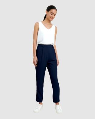 Forcast Juna Tapered Slim Pants - Pants (Navy)