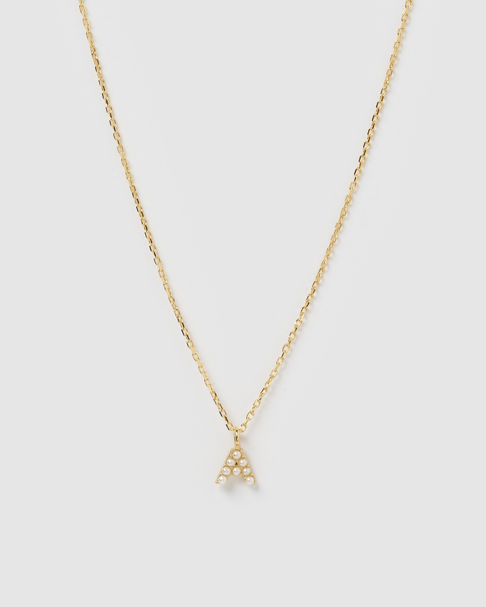 Izoa Pearl Letter A Necklace Gold Jewellery Gold