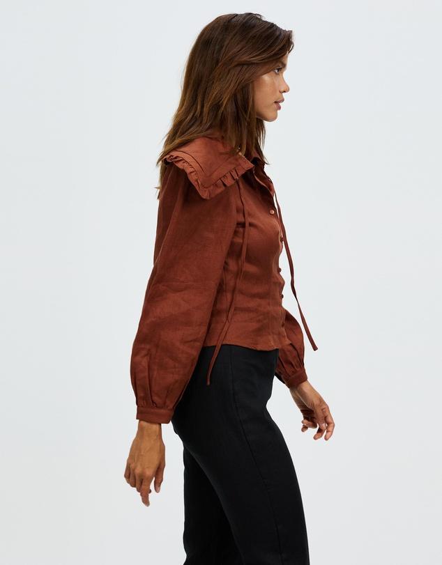 Women Linen Collared Puff Sleeve Shirt