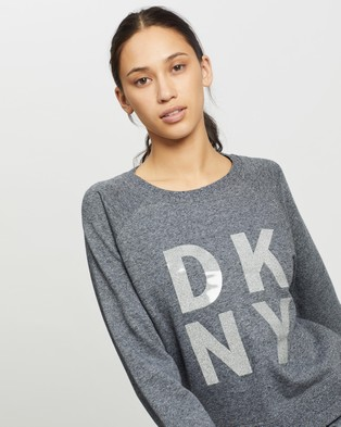 DKNY Terry Foil Stacked Logo Pullover Sweatshirt - Crew Necks (Black Heather)