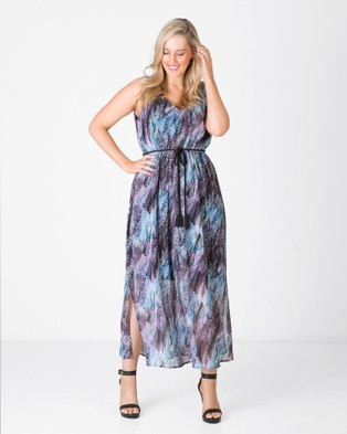 Love Your Wardrobe – Sara Plaited Tie Print Maxi Dress – Dresses (Multi Feather Print)