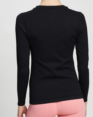 Aim'n Ribbed Zip Long Sleeve - Long Sleeve T-Shirts (Black)