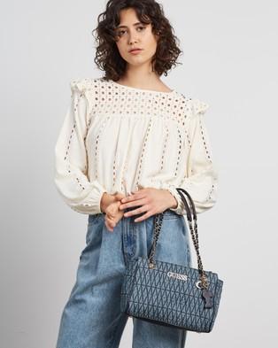 Guess Brinkley Society Satchel - Handbags (Denim)