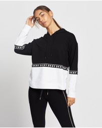 DKNY - Boxy Hooded Long Sleeve Sweatshirt with Taping