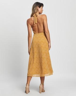 Atmos&Here Lina Midi Dress - Printed Dresses (Mustard)