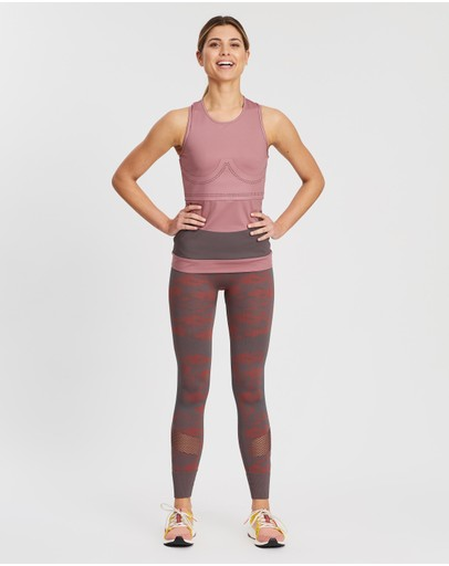 Adidas By Stella Mccartney Essential Seamless Tights Grey Five & Clay Red