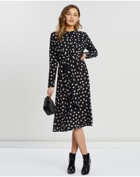 Boohoo - Wrapped Front Polka Dot Midaxi Dress