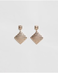 Atmos&Here - Textured Square Drop Earrings