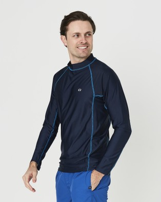 Coast Clothing - Mens Long Sleeve Rash Top Swimwear (Navy)