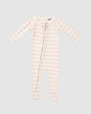 Boody Organic Bamboo Eco Wear 2 Pack Baby Long Sleeve Onesies - All gift sets (Rose Stripe/Chalk)