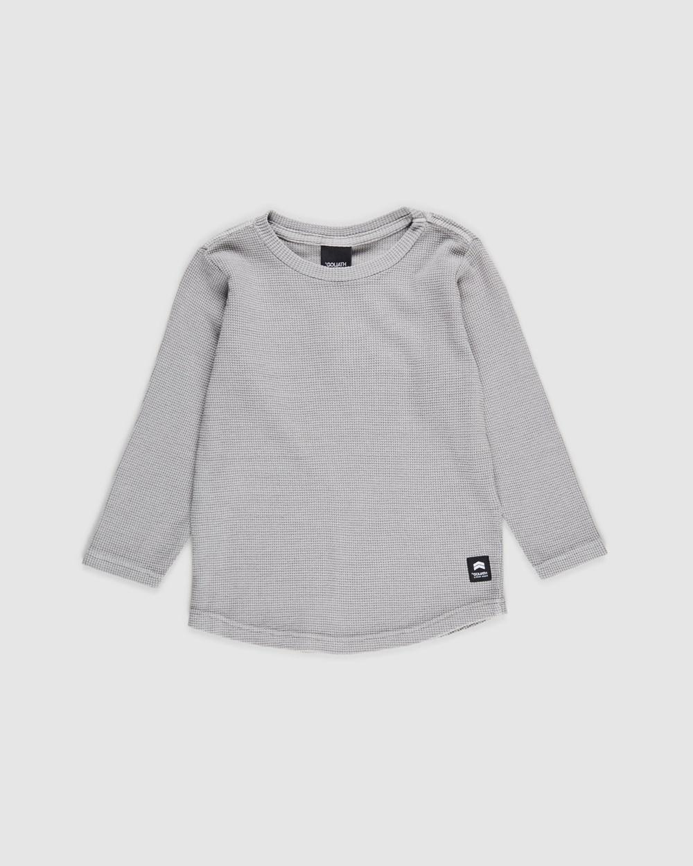 St Goliath - Long Sleeve Waffle Tee   Kids - T-Shirts & Singlets (Grey) Long Sleeve Waffle Tee - Kids
