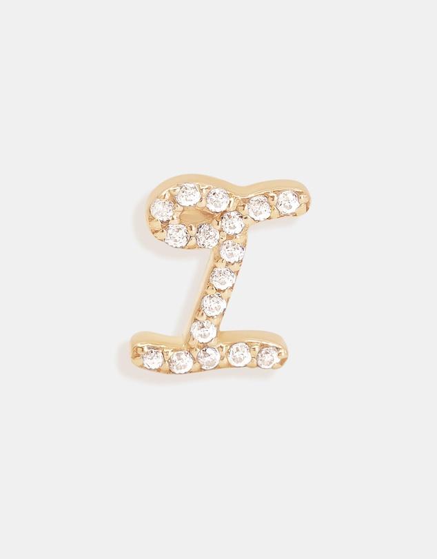 Women 14K Gold Diamond Love Letter I Single Earring