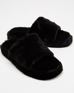 Dazie Jenner Slippers - Slippers & Accessories (Black Fluff)