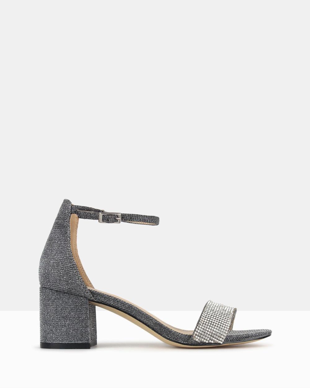 Betts California Sparkle Block Heels Mid-low heels Grey California Sparkle Block Heels