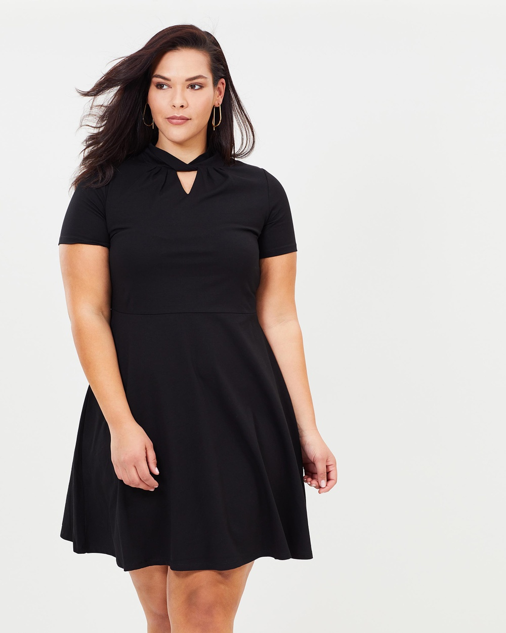 DP Curve Hannah Twist Detail Fit and Flare Dress Dresses Black Hannah Twist Detail Fit-and-Flare Dress