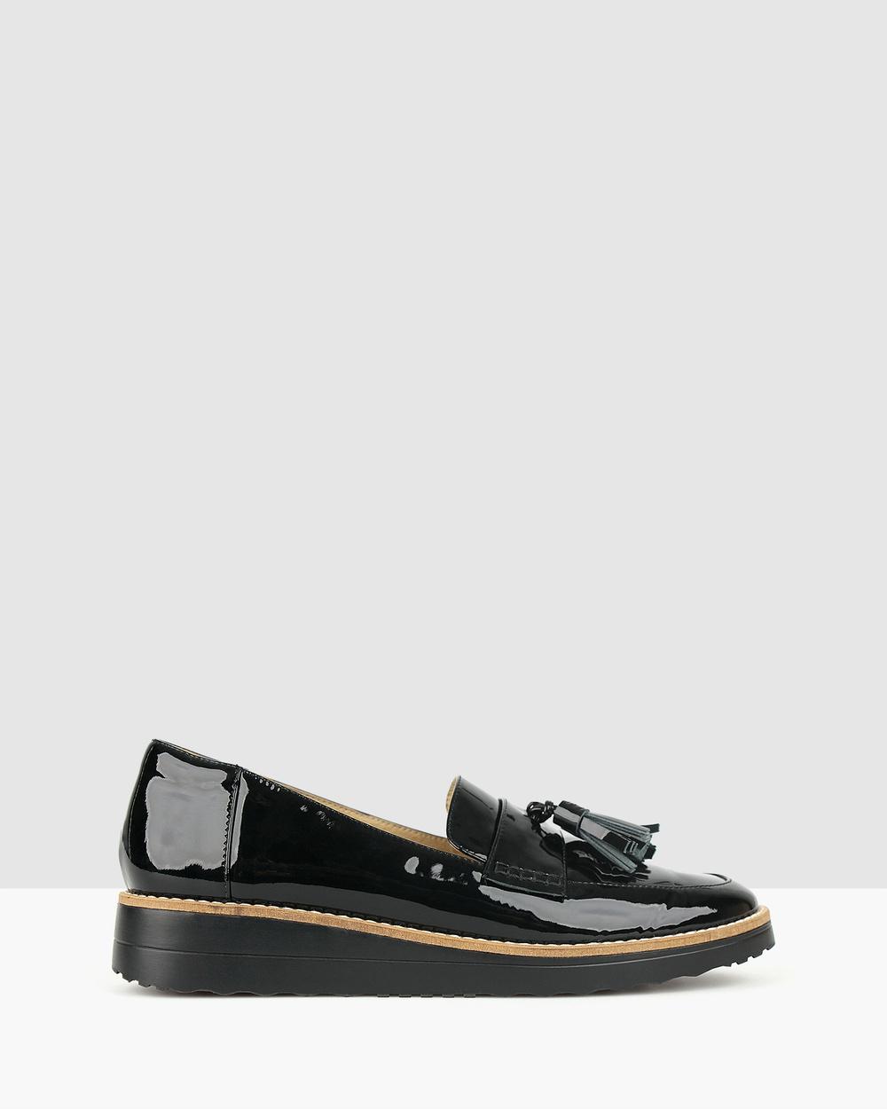Airflex Dori Leather Loafers Flats Black Pat