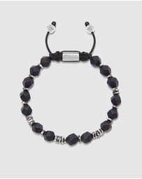 Nialaya Jewellery - Men's Beaded Bracelet with Faceted Onyx