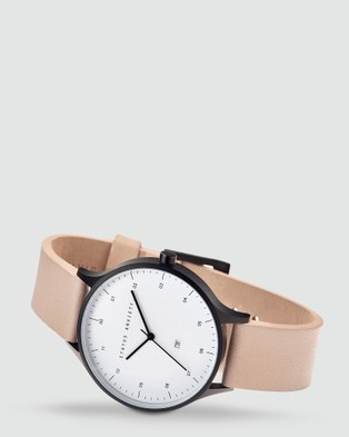 Status Anxiety Inertia - Watches (matte black / white face / natural strap)