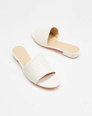 Atmos&Here Didion Leather Heels - Sandals (White Croc Embossed Leather)