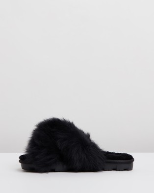 UGG Womens Fuzzalicious Slippers - Slippers & Accessories (Black)