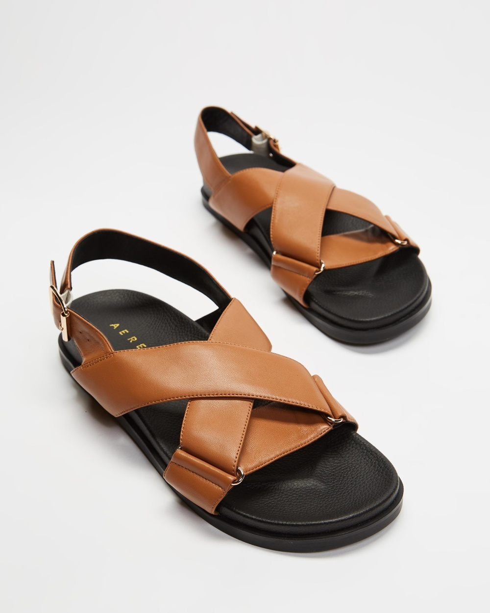 AERE Crossover Leather Footbed Sandals Tan Leather