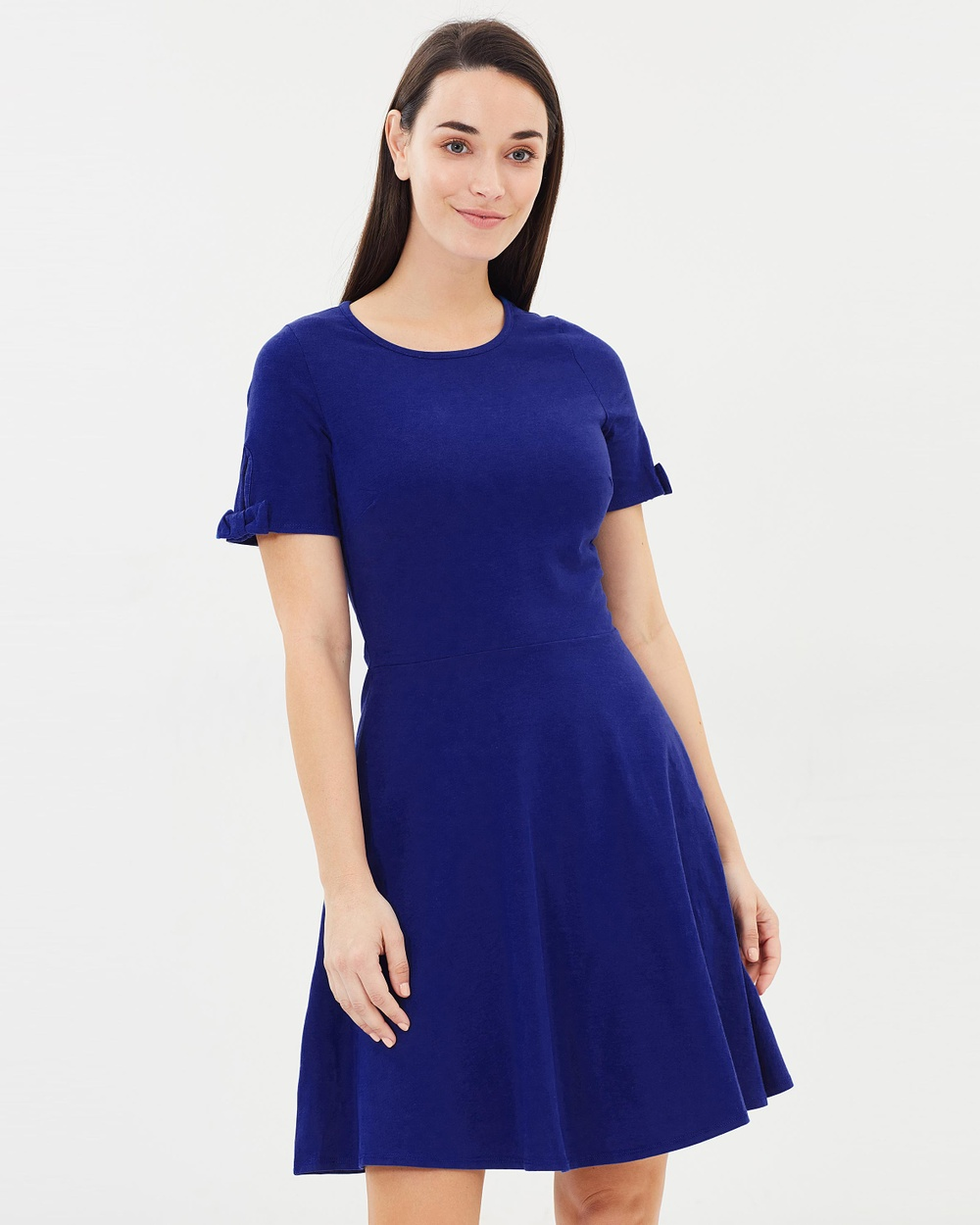 Dorothy Perkins Bow Short Sleeve Jersey Dress Dresses Cobalt Bow Short Sleeve Jersey Dress