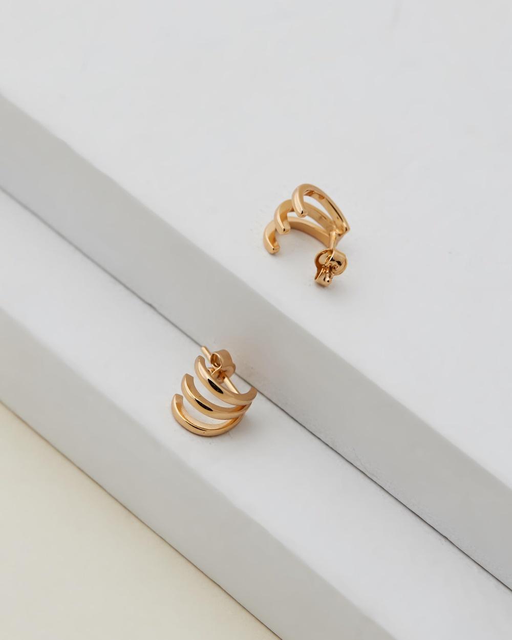 Orelia London Triple Bar Earrings Jewellery Pale Gold
