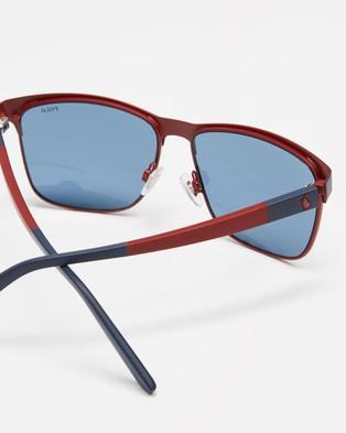 Polo Ralph Lauren PH3128 - Sunglasses (Matte Navy Blue & Matte Red with Dark Blue)