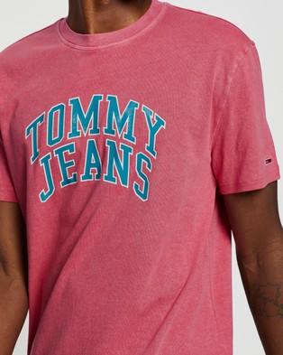 Tommy Jeans Novel Varsity Logo Tee - T-Shirts & Singlets (Light Cerise Pink)