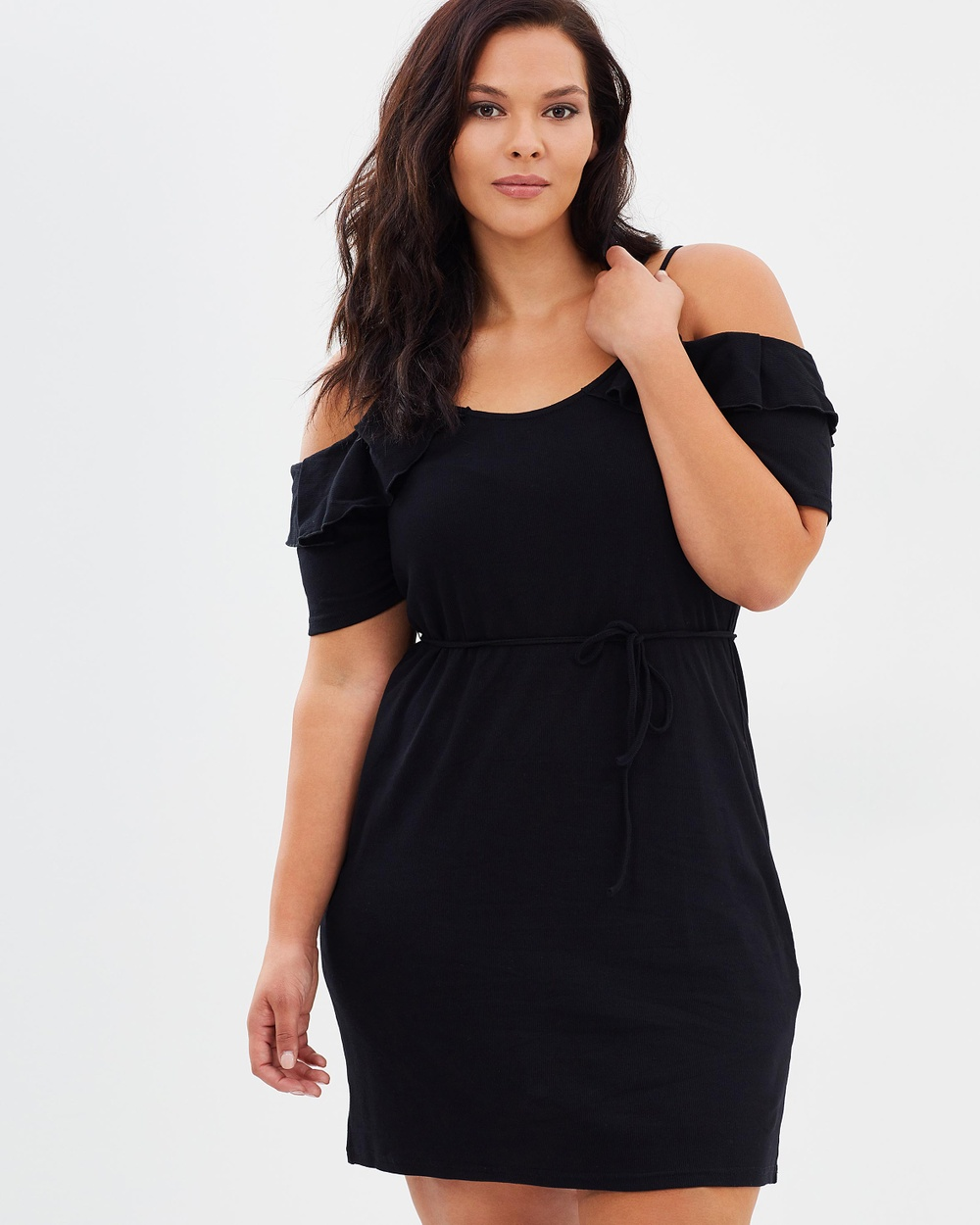 Atmos & Here Curvy ICONIC EXCLUSIVE Alissa Cold Shoulder Dress Bodycon Dresses Black ICONIC EXCLUSIVE Alissa Cold Shoulder Dress