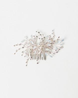 Ivory Knot Karina Hair Comb - Fascinators (Silver & Opal)