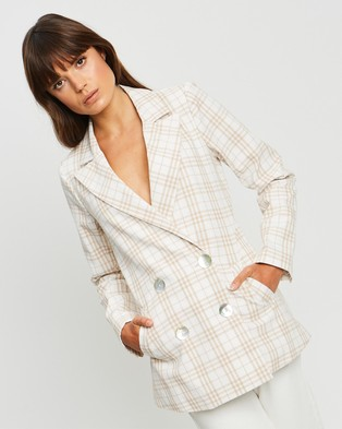 The Fated Epitome Linen Blazer - Blazers (Beige Check)