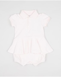 Polo Ralph Lauren - Cotton Peplum Polo Romper - Babies