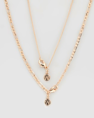 Chained & Able Stone Figaro Layer Necklace - Jewellery (Gold)