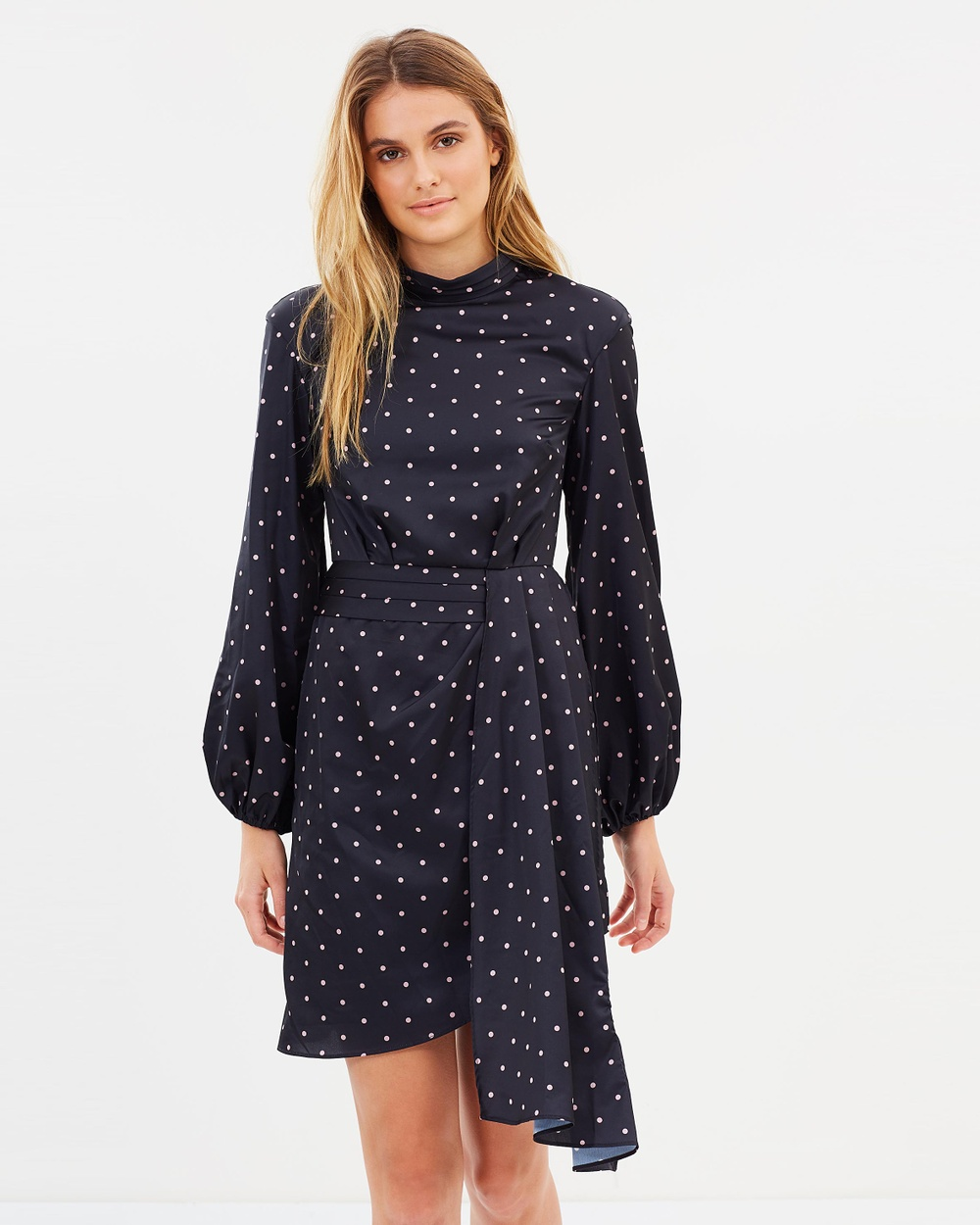 Keepsake the Label Hold Back Long Sleeve Dress Printed Dresses Black Hold Back Long Sleeve Dress